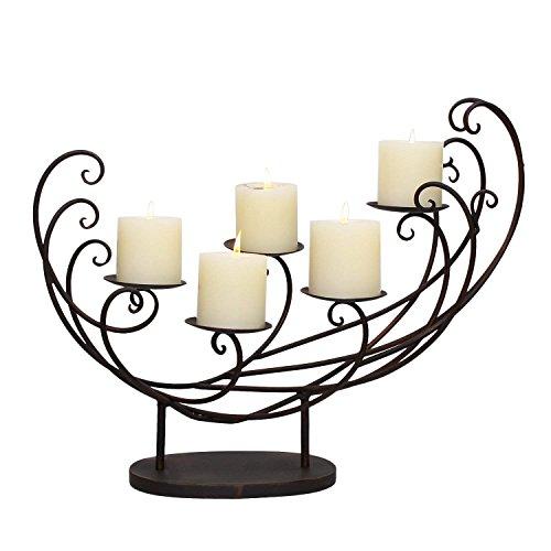 Deco De Ville European Antique Vintage Design Style Stand Metal Tealight Candle Holder Centerpiece (M, HD0027)