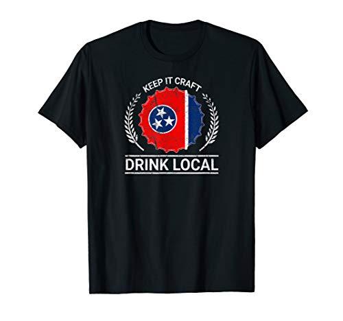 - Drink Local Tennessee Vintage State Flag Beer Bottle Cap Tee