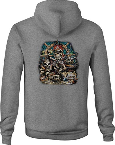 Zip Up Hoodie Barnacle Bill Pirate Treasure Gold Coins Skull Pile - 3XL - Coin Cummins