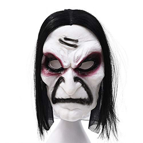 Halloluck Halloween Horror Ghost Grimace Ghost Mask Scary Zombie Emulsion Skin with Hair, Halloween Party Costume Party Mask White and Black]()