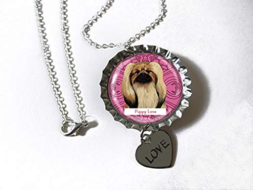 Pekingese Dog Silvertone Bottlecap Pendant Necklace with Heart Charm as a CUSTOM JEWELRY OF YOUR PET