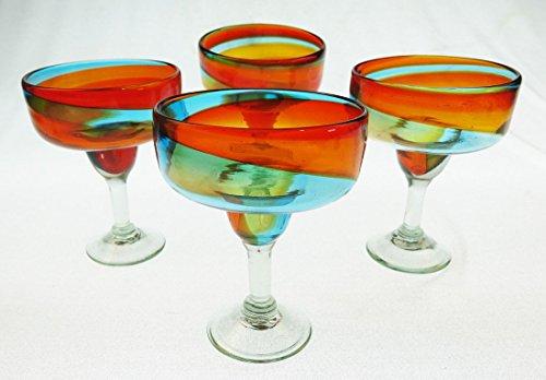 Mexican Margarita Glasses, Hand Blown, Rainbow colors 18 Oz (Set of 4)