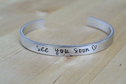 See You Soon | Long Distance Relationship Hand Stamped Jewelry Deployment Gift For Her Countdown LDR Love | Hand Stamped Aluminum Bracelet