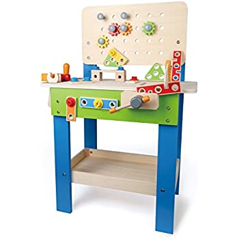 Amazon Com Wooden Workbench With Vise Toys Amp Games