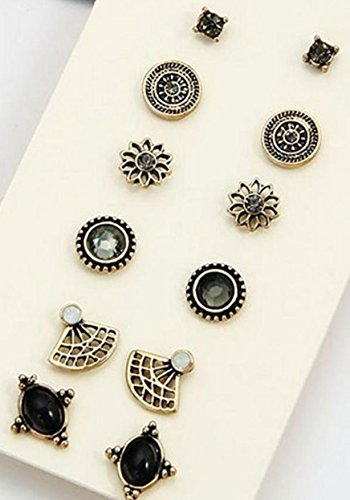 [Vintage Ethnic set Blue Crystal Red Flower Resin Round Hollow Stud Earrings sets 6 pairs(silver] (Lovely Leopard Sexy Costumes)