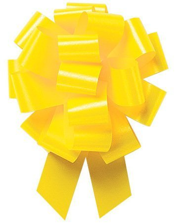 Pull String Bows 5 Inch 20 Loops Yellow Pkg/10