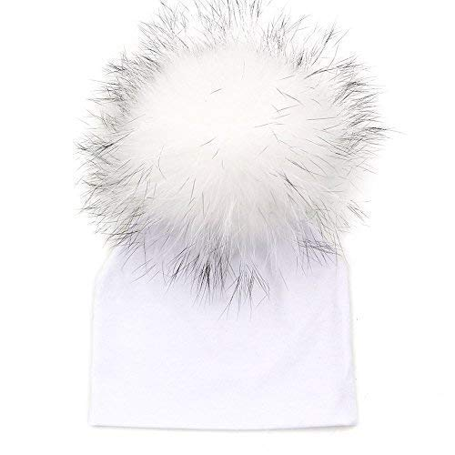 GZHILOVINGL 0-6 Months Baby Hats Newborn Infant Beanie With Real Fur Pom Pom Spring ()