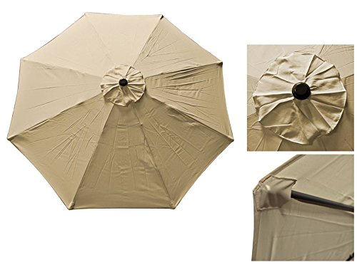STARWORLD 9FT Durable Outdoor waterproof -color Anti-fade market Umbrella Replacement canopy Top cover 8 Rib Polyester with UV Protection Rain -TAN color Review