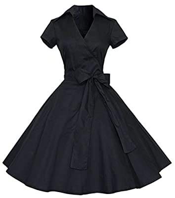 Dear-Queen Womens Polka Dot Dresses,50s Style Short Sleeves Rockabilly Vintage Dress