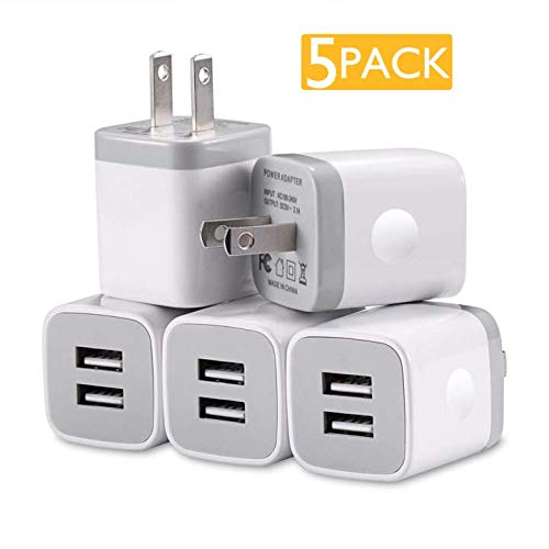 USB Charger, 5-Pack 5V/2.1AMP Power Adapters 2-Port Fast Dual Port Travel Mobile Phone AC Adapter Portable Block Plug Compatible with Phone XS MAX/XR/X/8/7/Plus/6S/6/SE/5S/5C/Tablet (White)