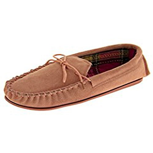 Footprints Ladies Womens Moccasin Slippers Moc Leather Suede Winter Warm Shoes Tartan 3-8 Pink
