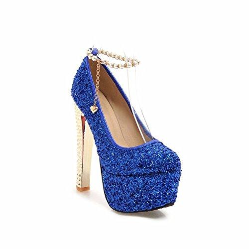 Alto 15Cm Pasarela Espesor Eu35 con Hebilla De Plataforma Vestido De con Azul De Zapatos Impermeable con Lentejuelas Novia BBqr5pwZ