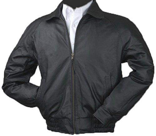Burk's Bay Men's Napa Leather Classic Bomber Jacket L Black - Bay Leather Jacket