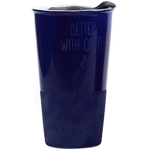Travel Coffee Ceramic Mug Tea Cup Double Wall Porcelain With Lid 11oz. by CEDAR HOME, Navy Blue