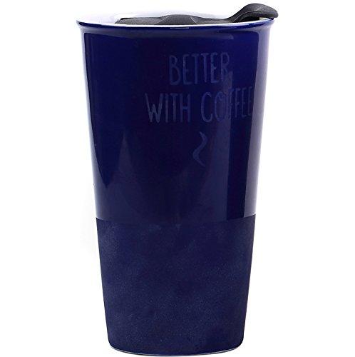Travel Coffee Ceramic Mug Tea Cup Double Wall Porcelain With Lid 11oz. by CEDAR HOME, Navy Blue