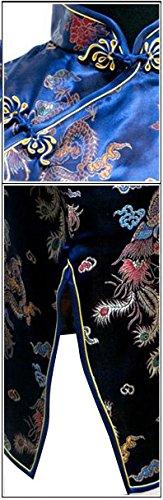 7Fairy Womens VTG Navy Blue Dragon Mini Chinese Prom Dress Cheongsam
