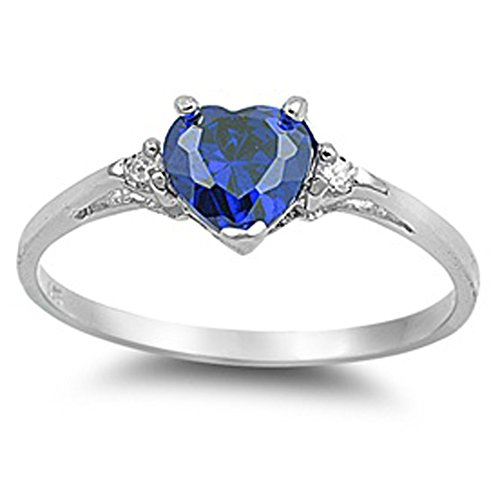 Oxford Diamond Co Heart Simulated Sapphire & Clear Stone .925 Sterling Silver Ring Size 12