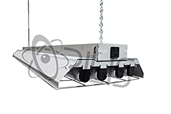 Grey LED Garage 4 Ft. 96 Watt High Bay Hanging 4 Light Shop Light Plug In T8 Fixture w Pull Chain - 4X 24W LED Tubes- 6500K - Replaces (8) 32W Fluorescent Bulbs