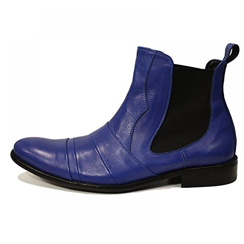 Bleu Bottes main élégant - main Colorful italiennes en cuir Souliers simple Oxfords formelle prime uniques Souliers de Vintage Gift Lace Up Robe Hommes