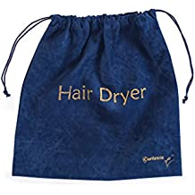 Extra Large 13.5 x 13.5 Navy Blue Luxury Velvet Drawstring Hair Dryer Bag - Unisex Gift - Ideal Storage For Shaving Kits, Curling Irons, Straighteners, Toiletry and Brushes- Travel Organizer
