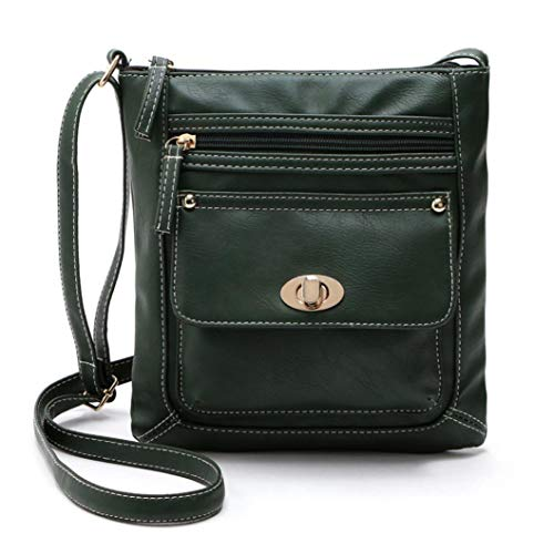 Kanpola Messenger Green Body Satchel Womens Bag Leather Cross Shoulder Black qrTpqC