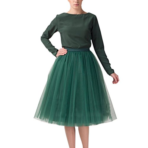 Wedding Planning Women's A Line Short Knee Length Tutu Tulle Prom Party Skirt Small Green