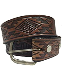 Aztec Design Stampable Steerhide Solid Leather Belt Made In the USA
