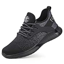 TQGOLD Safety Shoes for Men Women Steel Toe Sneaker Work Shoes Lightweight Breathable Industrial Construction Shoes Roofing Shoes(Black, 39)