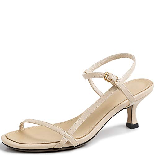 (Vimisaoi Women's Vintage Ankle Strappy Stilettos Kitten Heel Sandals, Rome Comfort Peep Toe Slip On Pumps Dress Party Shoes)