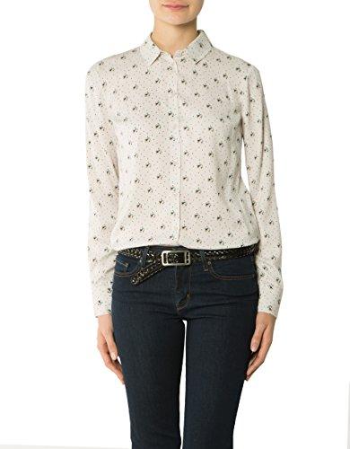 LIU JO Damen Bluse Mikrofaser Blusenshirt Floral, Größe: 44, Farbe: Beige
