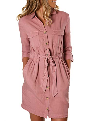 Dokotoo Womens Fashion 2019 Autumn Ladies Basic Solid Button Down Casual Pockets V Neck 3 4 Long Sleeve Belted Tunics Shift T Shirts Mini Short Dresses Pink Large