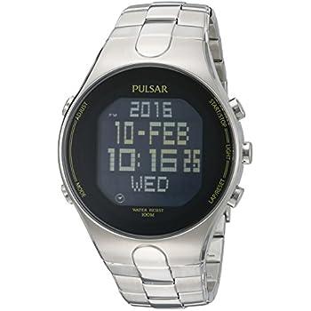 amazon com pulsar men s pq2001 silver tone digital stainless steel rh amazon com Pulsar Watches Men Original Pulsar Digital Watch