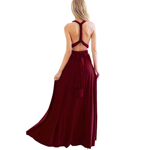 Multi Wear Long Dress - Women Transformer Infinity Evening Dress Multi-Way Wrap Convertible Halter Maxi Floor Long Dress High Elasticity, Burgundy, Small