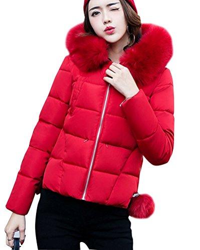 Manga Invierno Capucha Chaqueta De Larga Abrigo Con Corta Cremallera De Acolchado Mujer Rojo YaqxTwT