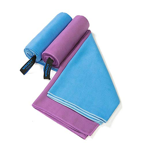 WGOOT Quick Dry Microfiber Towel,Super Absorbent,Lightweight &Ultra Compact,Suitable for Swimming,Yoga,Camping,Beach,Gym,Sport, Blue(59
