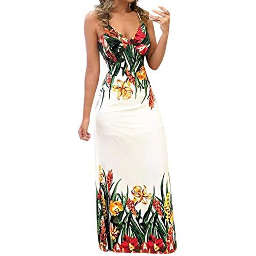Ximandi Women's Strap V Neck Off Shoulder Sleeveless Wedding Dress Casual Evening Party Maxi Dress White