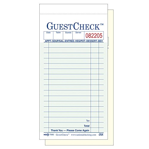 NCCO Guest Check G7000SP - 1 Pack of 10 Books with 50 Two Part Carbonless Green 17 Line Checks - 500 Checks/Pack by National Checking Company…