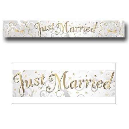 amscan - Cartel con inscripción Just Married para Bodas (2,7 m), diseño con Efecto Metalizado
