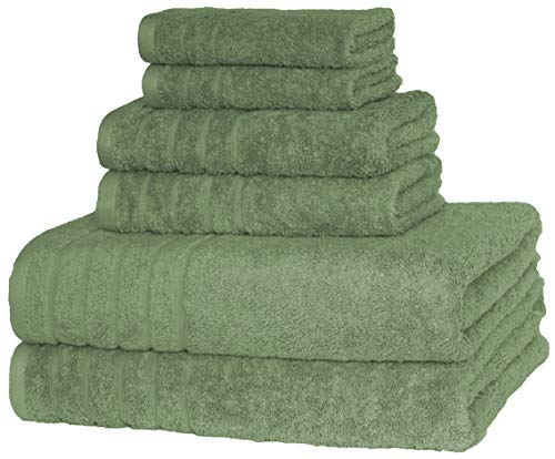 700 GSM Super Absorbent and Soft Hotel & Spa Quality, 100% combed Cotton, 6 Piece Turkish Towel Set for Kitchen & Decorative Bathroom Sets Includes 2 Bath Towels 2 Hand Towels 2 Washcloths, Sage Green