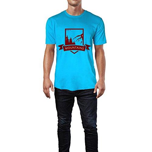 SINUS ART® Vintage Label – Mountains Herren T-Shirts in Karibik blau Cooles Fun Shirt mit tollen Aufdruck