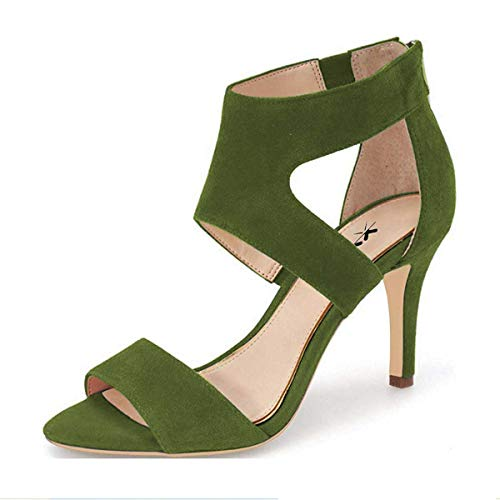 XYD Prom Dancing Shoes Elegant Open Toe Strappy Heeled Sandals Ankle Wrap Dress Pumps for Women Size 8.5 Olive -