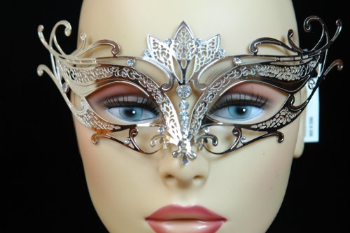 Laser Cut Venetian Halloween Masquerade Mask Costume Extravagantly Simple Inspire Design - Silver w/ Rhinestones by KBMasks