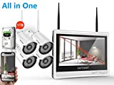 [All in One]Security Camera System Wireless,Safevant 8CH 1080P Monitor Wireless Security Camera System(1TB Hard Drive),4PCS 1080P Indoor&Outdoor IP66 Wireless Security Cameras,Plug&Play,No Monthly Fee