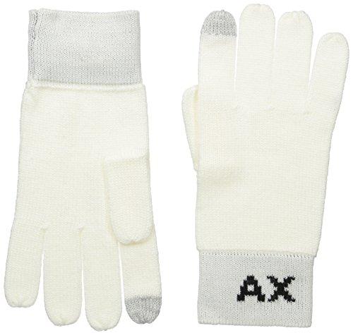 Armani Exchange Men's Knit Logo Gloves, white, SmallMedium