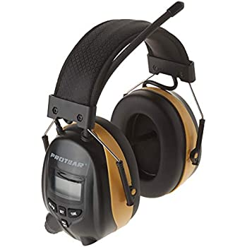 PROTEAR Digital AM FM Radio Earmuff, Ear Protection Headphones, Electronic Noise Reduction Ear Defender, Perfect for Mowing Working (Yellow)