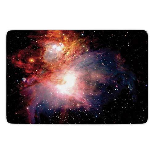 (Bathroom Bath Rug Kitchen Floor Mat Carpet,Space Decorations,Space Nebula after Super Nova Celestial Explore the Cosmos in the Universe Print,Black Orange,Flannel Microfiber Non-slip Soft Absorbent)
