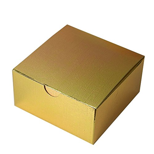 Efavormart 100pcs of 4x4x2 Gold Cake Box for Candy Treat Gift Wrap Box Party Favor Boxes for Bridal Shower Wedding Party]()