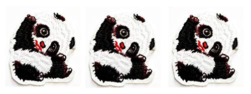 Nipitshop Patches Set Mini Little Panda Bear Japan Kid Cartoon Embroidered Iron On Patch for Clothes Backpacks T-Shirt Jeans Skirt Vests Scarf Hat -