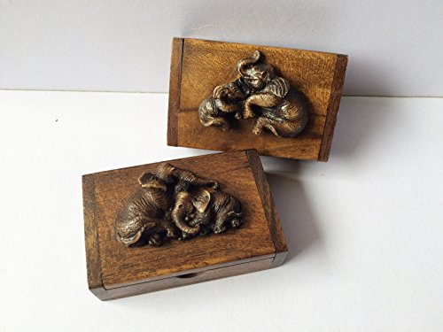 wooden-box-thai-antique-trinket-vintage-small-craft-elephant-decorated-set-2-collection-teak-wood