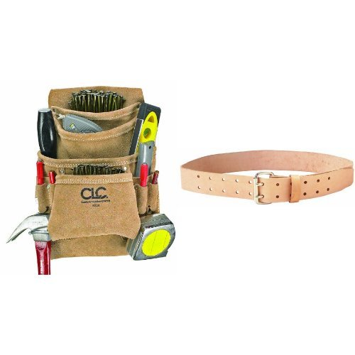 Custom Leathercraft I923X Suede Carpenter's Nail and Tool Bag, 10 Pocket and CLC 9841 Leather Work Belt, 2-Inch Wide